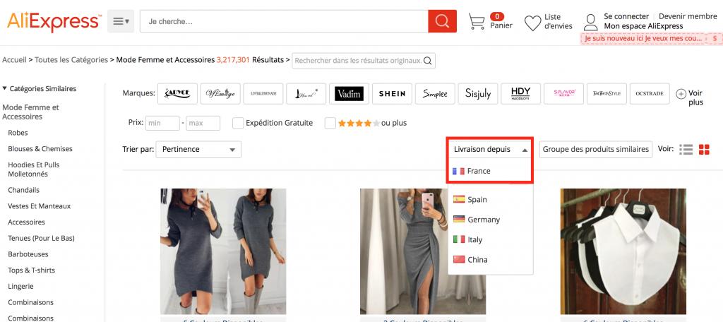sélectionner produits aliexpress livraison en France