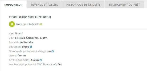 informations de l'emprunteur-Neo Finance (1)