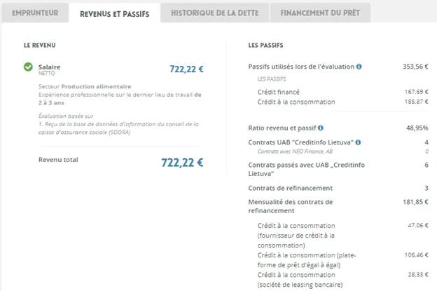 informations de l'emprunteur-Neo Finance (2)